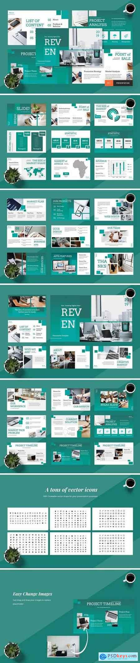 Reven - Pitch Deck - Powerpoint, Keynote, Google Sliders Templates