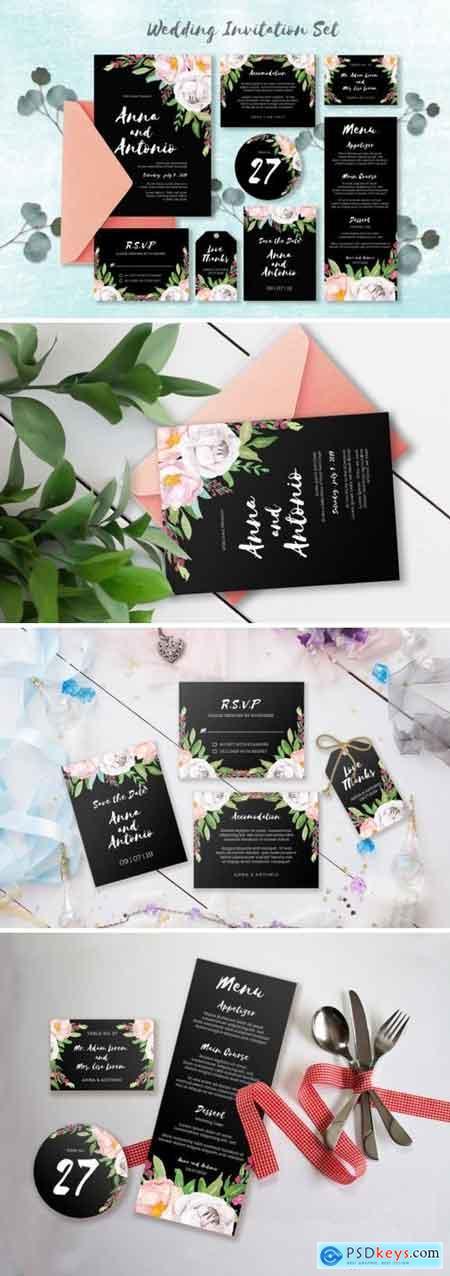 Watercolor Invitations Set