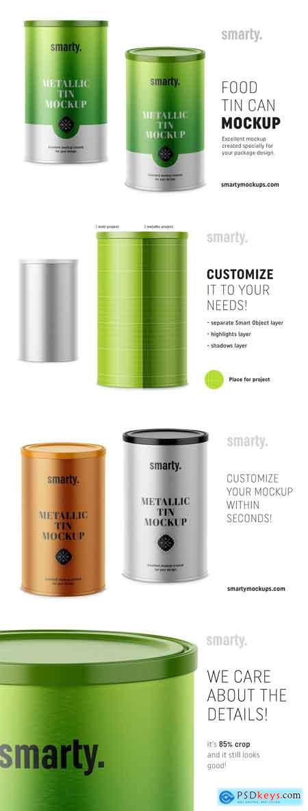 CreativeMarket Metallic tin can mockup
