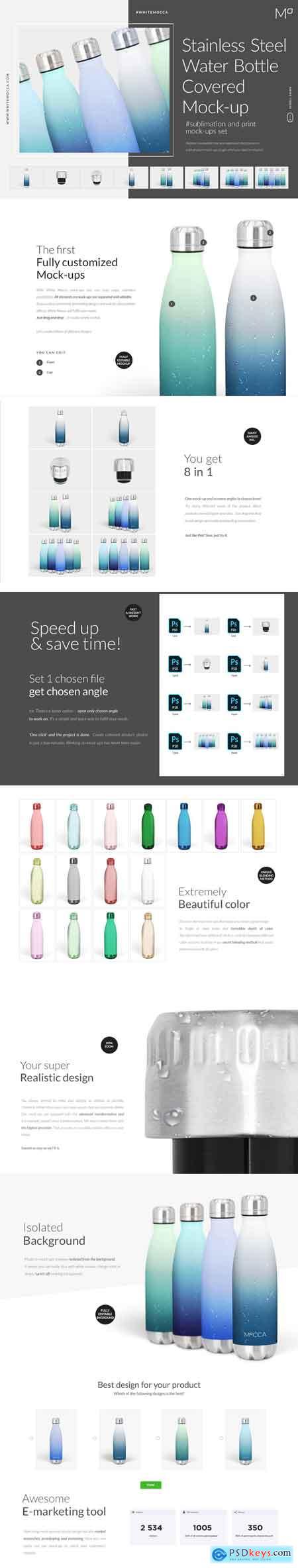 CreativeMarket Stainless Steel Water Bottle Mockup