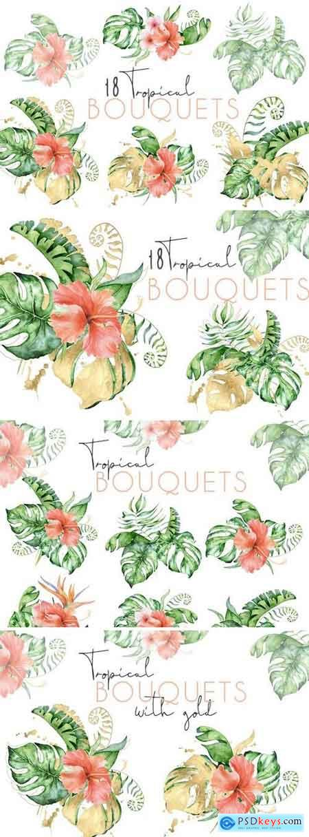 Creativemarket 18 Tropical bouquets watercolor