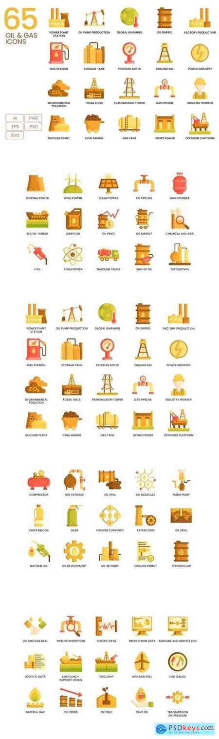 65 Oil & Gas Icons Caramel Series