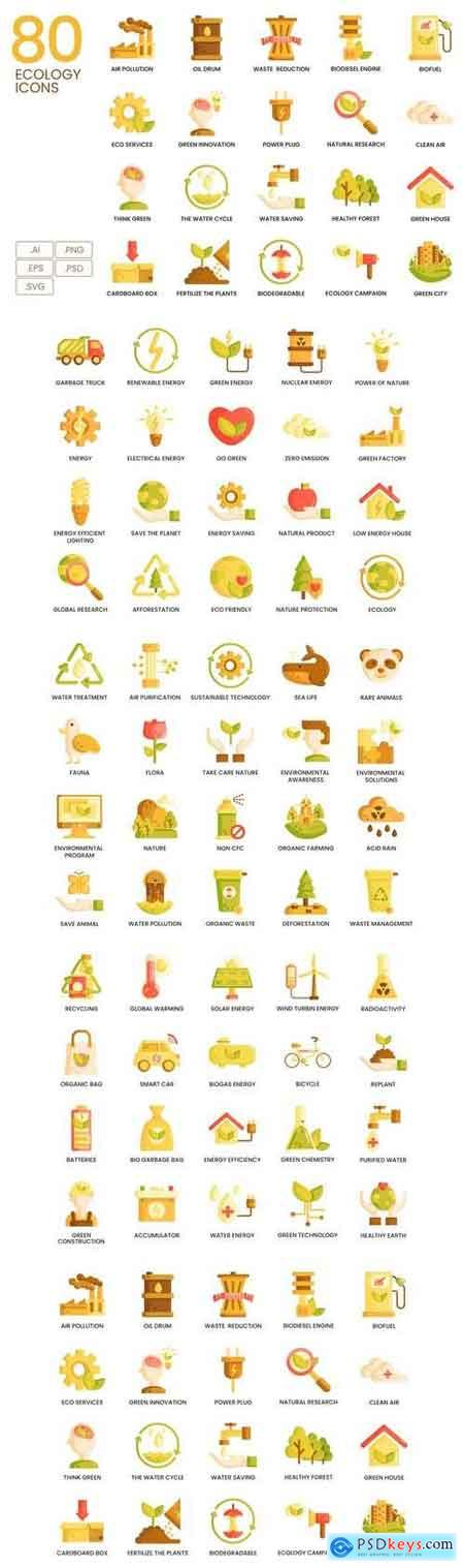 80 Ecology Icons Caramel Series