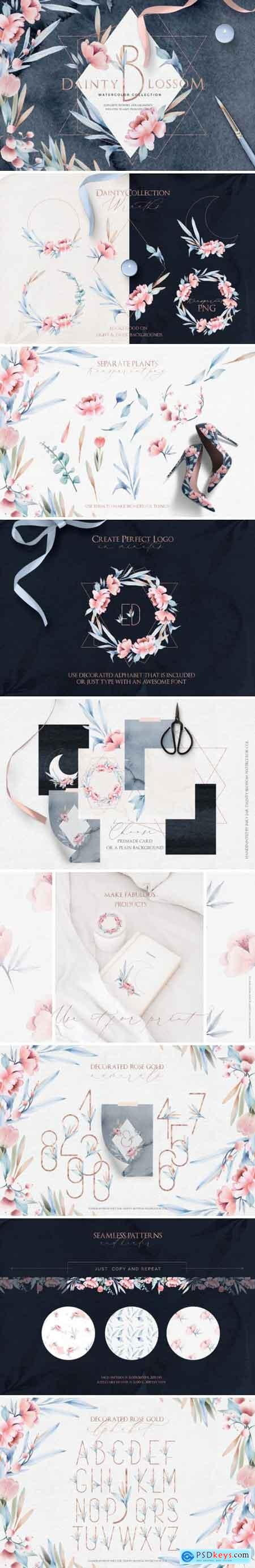 Creativemarket Fine Art Watercolor Collection Dainty Blossom