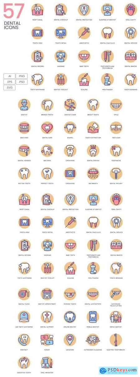 57 Dental Icons Butterscotch Series