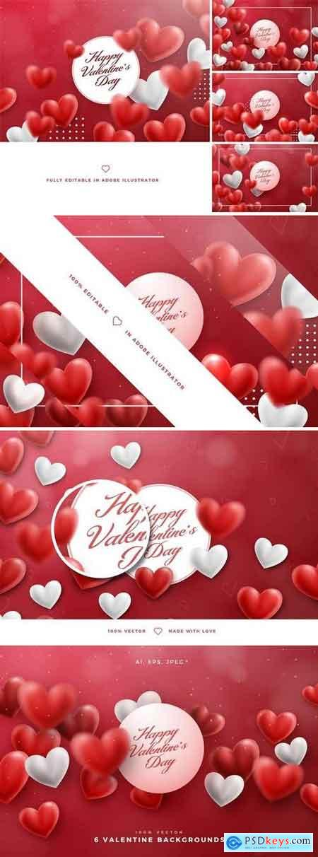 6 Valentine Hearts Vector Backgrounds