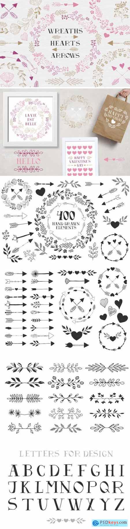 Creativemarket Wreaths, hearts, arrows - EPS & PNG