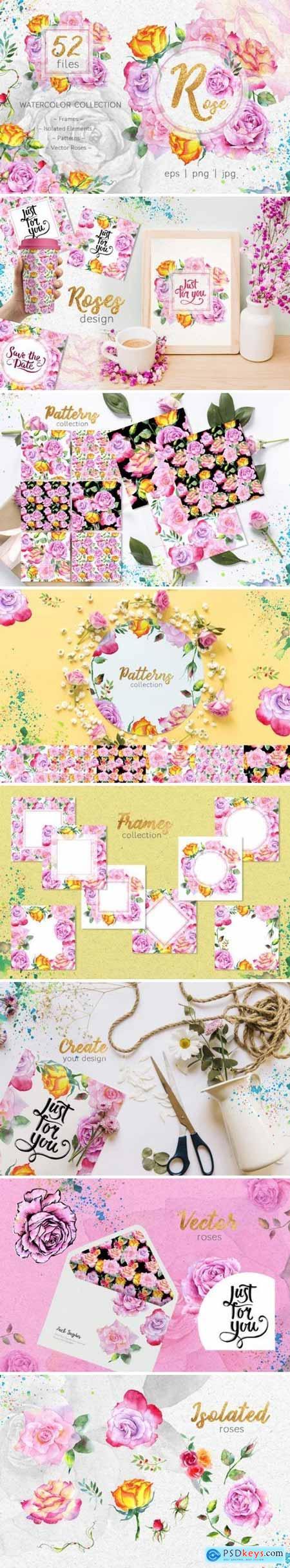 Creativemarket Pink roses collection watercolor