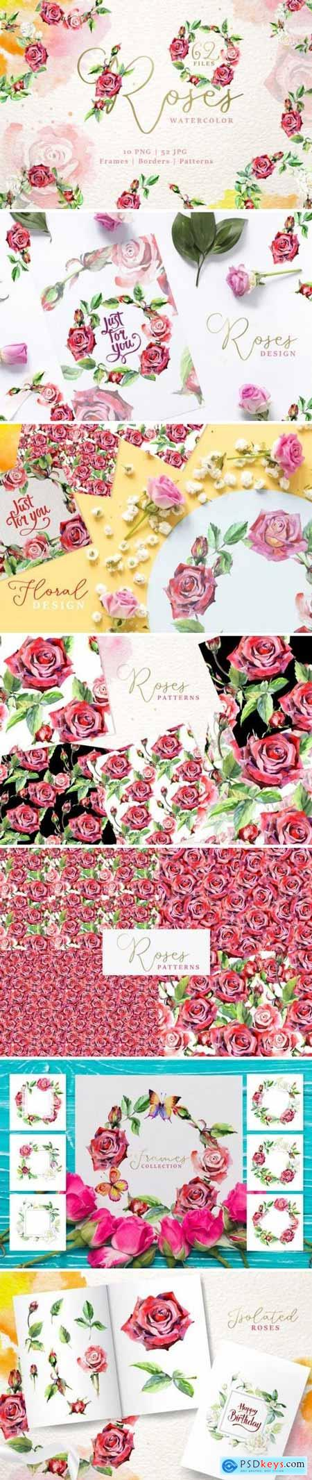 Creativemarket Wonderful watercolor red roses PNG