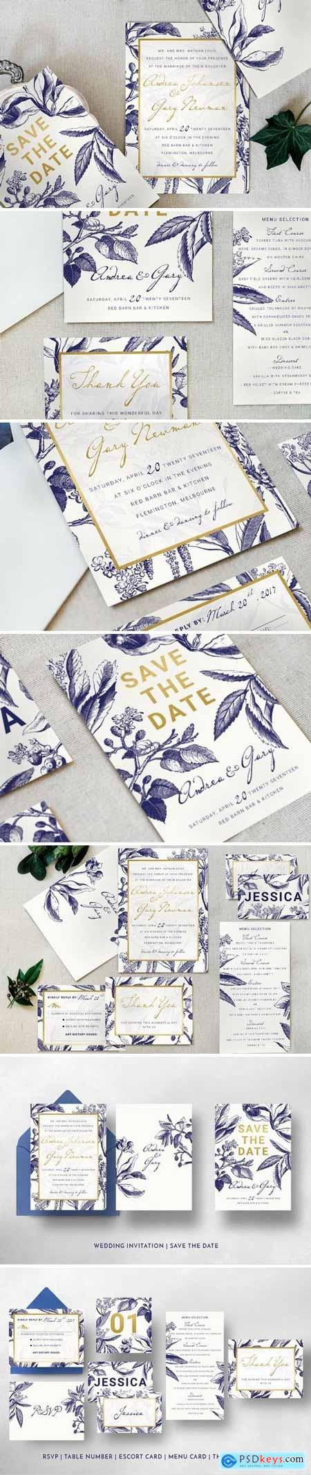 Creativemarket Gold & Navy Wedding Invitation Suite