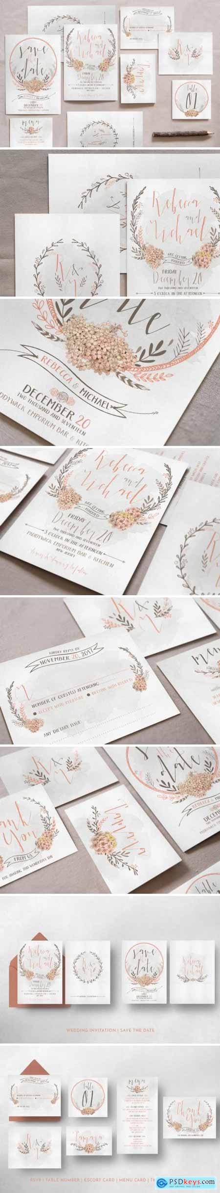 Creativemarket Wreath & Flower Wedding Invitation Suite 799852