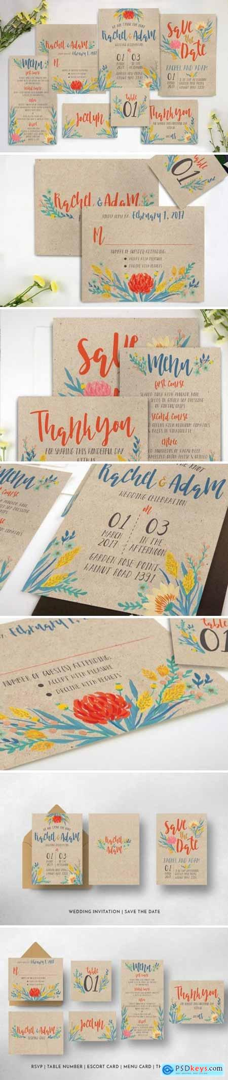 Creativemarket Summer Floral Wedding Invitation Suite 916717