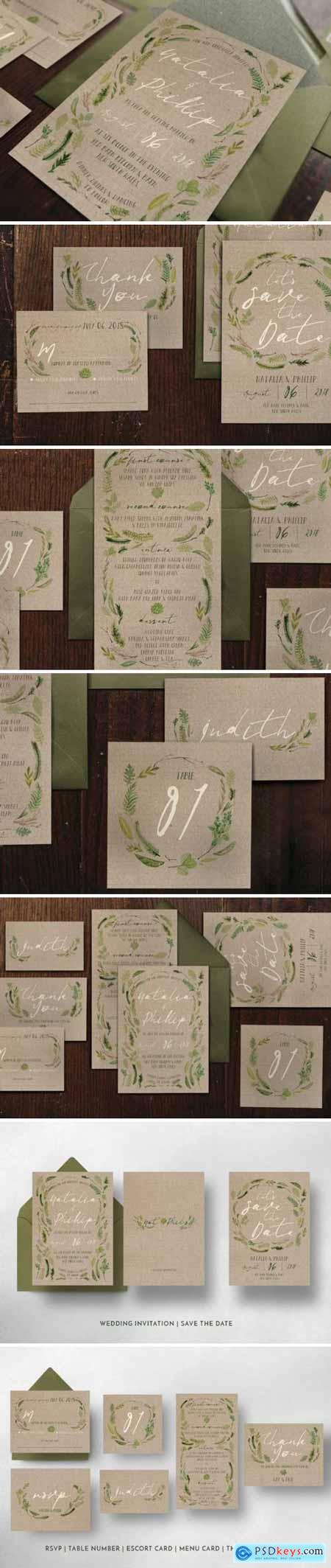 Creativemarket Watercolor Foliage Wedding Suite 1197917