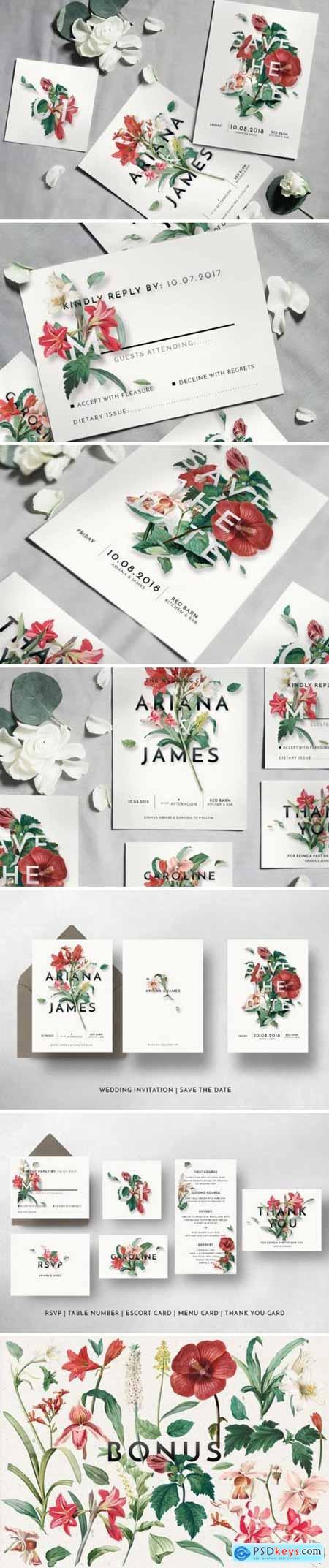 Creativemarket Modern Vintage Floral Wedding Suite