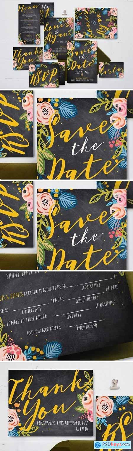 Creativemarket Black Floral Wedding Suite