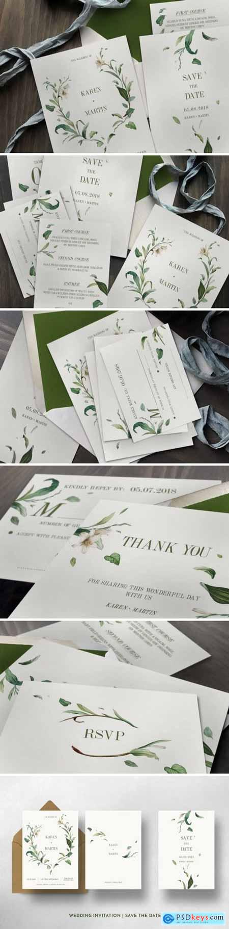 Creativemarket Green Foliage Wedding Invitation Suite 1116824