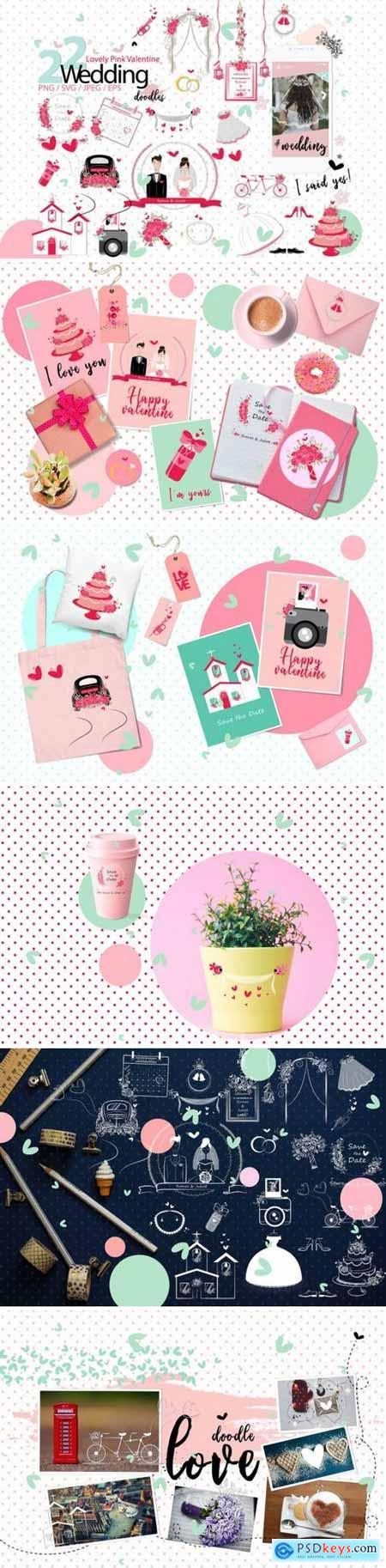 Lovely Pink Valentine Doodles