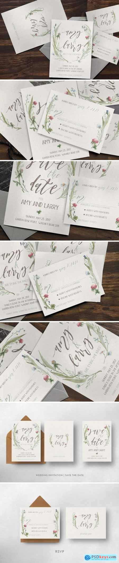 Creativemarket Watercolor Flower Wedding Invitation Suite 892941