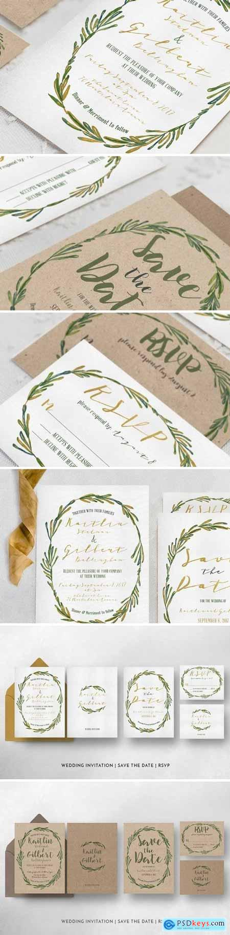 Creativemarket Elegant Wreath Wedding Suite