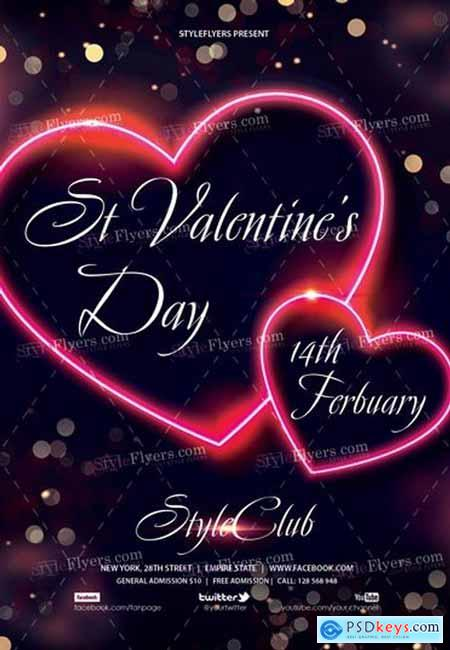 St Valentine's Day PSD Flyer Template
