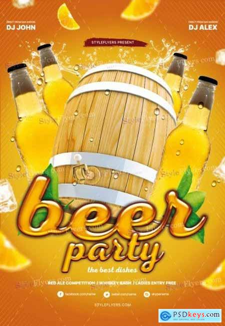 Beer Party 3 PSD Flyer Template