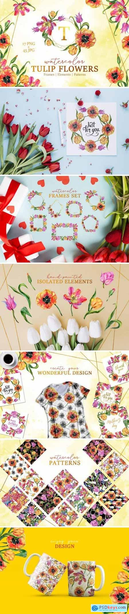 Creativemarket Super Tulip red flowers Watercolor