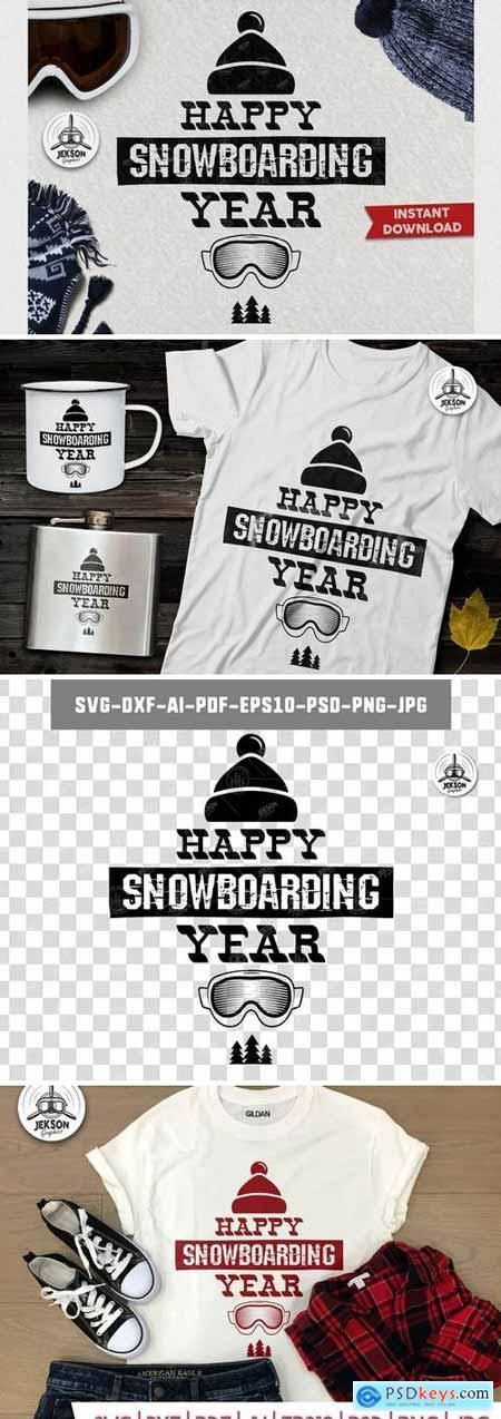 Happy Snowboarding Logo Winter Activity Badge