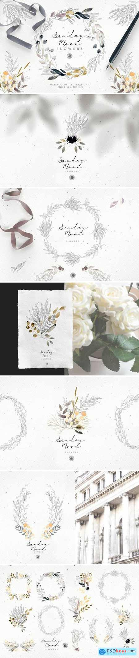 Creativemarket Sunday Moon Flowers