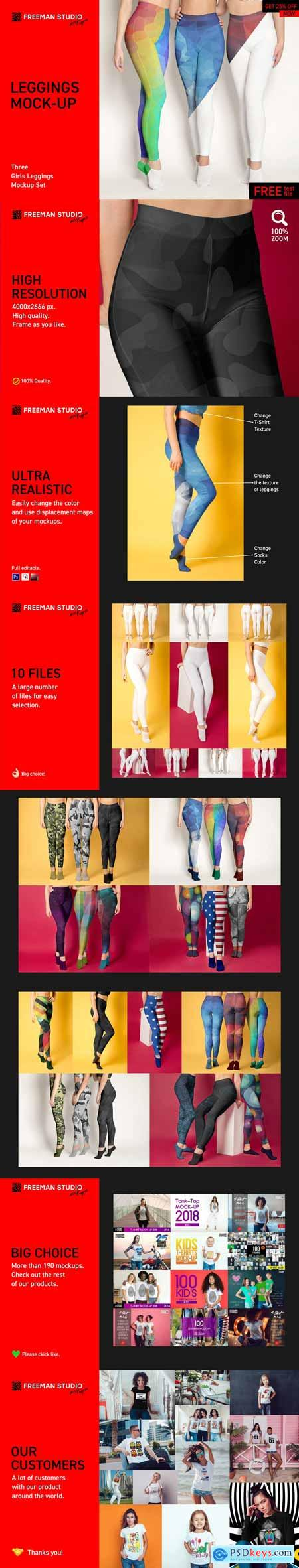 CreativeMarket Three Girls Leggings Mock-Up Set