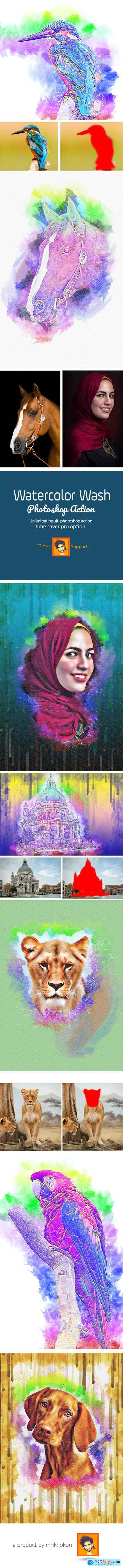 Graphicriver Watercolor Wash Photoshop Action vl 2