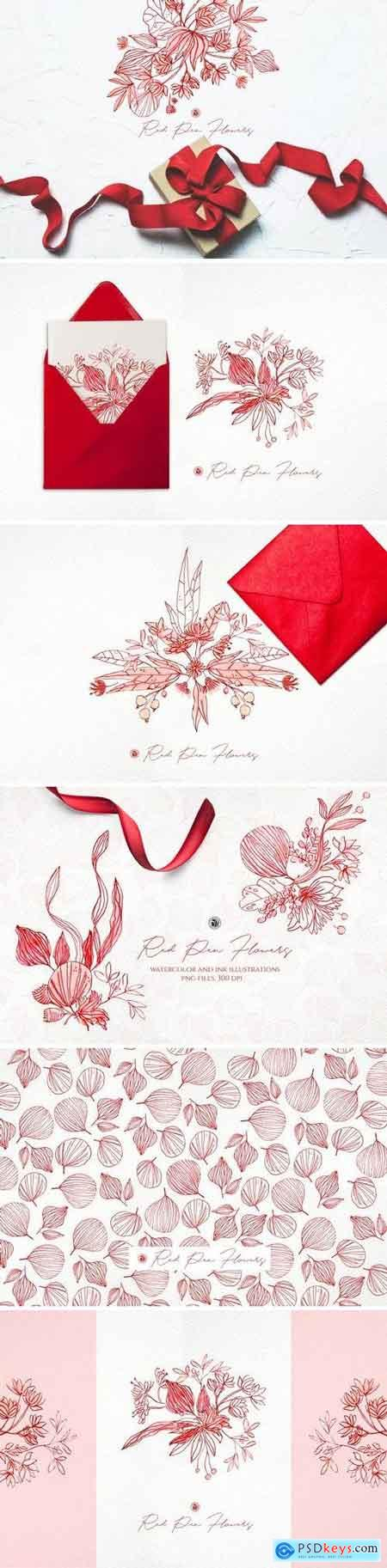 Creativemarket Red Pen Flowers