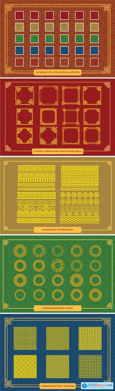 Chinese Ornamnet Brush Set