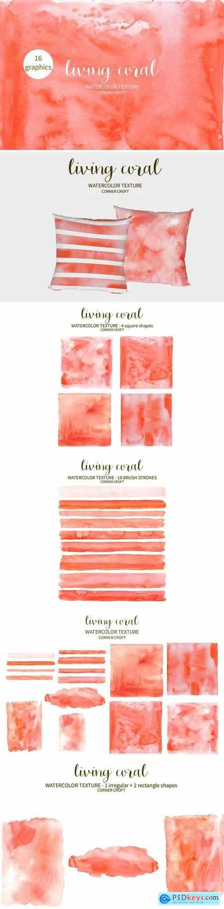 Watercolor Texture Living Coral