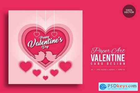 Paper Art Valentine Square Vector Card Vol.1