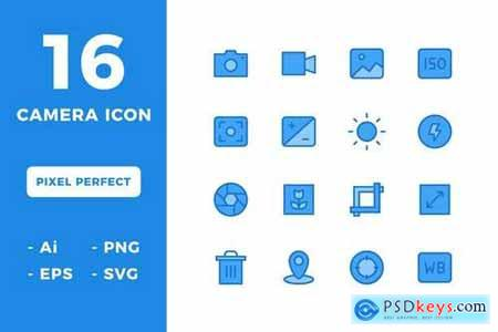 16 Camera Icons (Lineal Color)