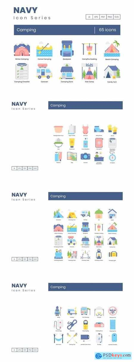 65 Camping Icons Navy Series