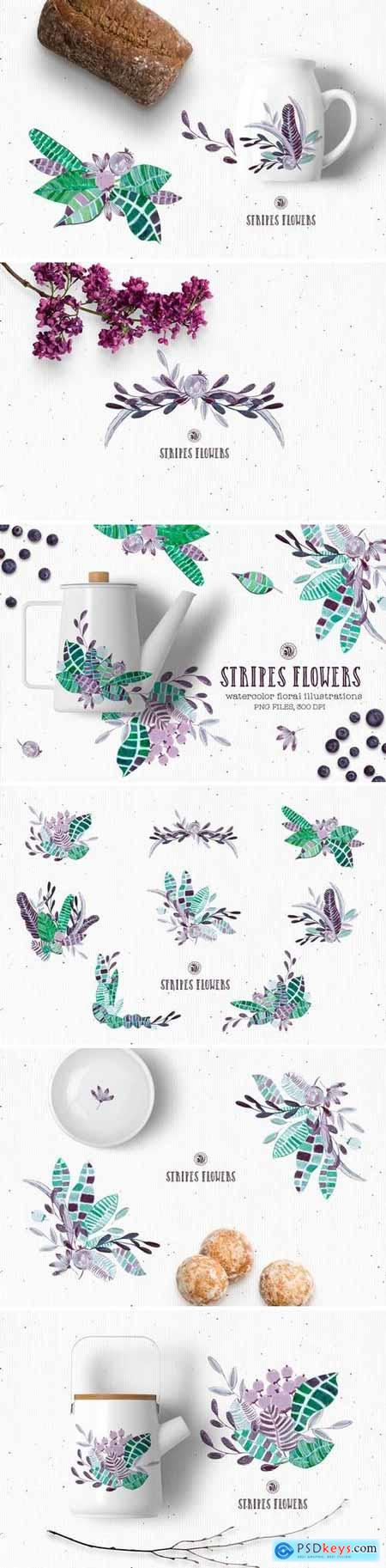 Creativemarket Stripes Flowers