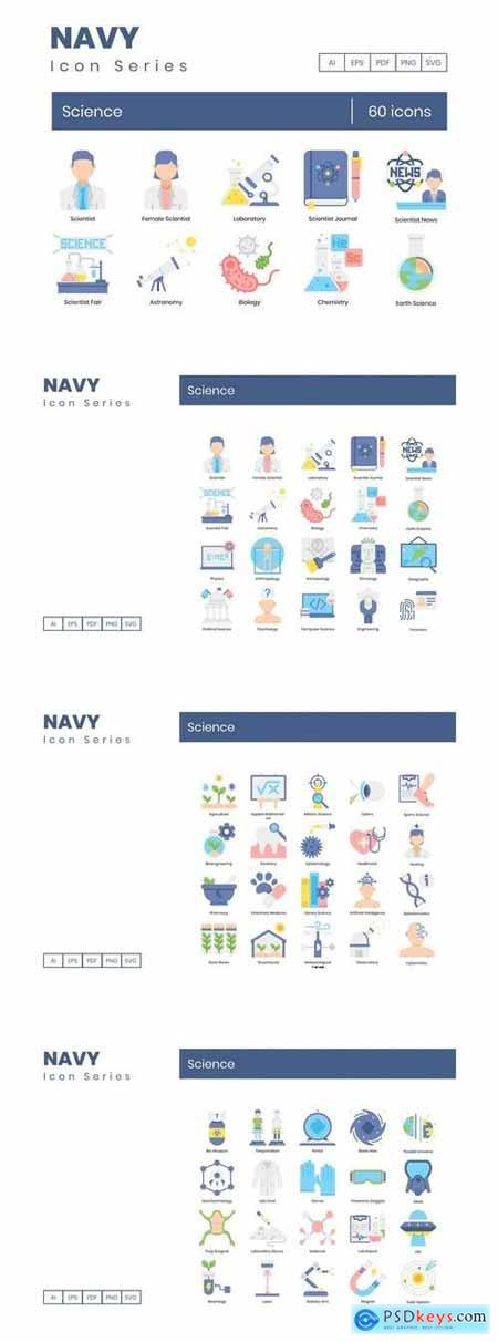 60 Science Icons Navy Series