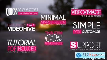 Videohive Quick Simple Title Openers