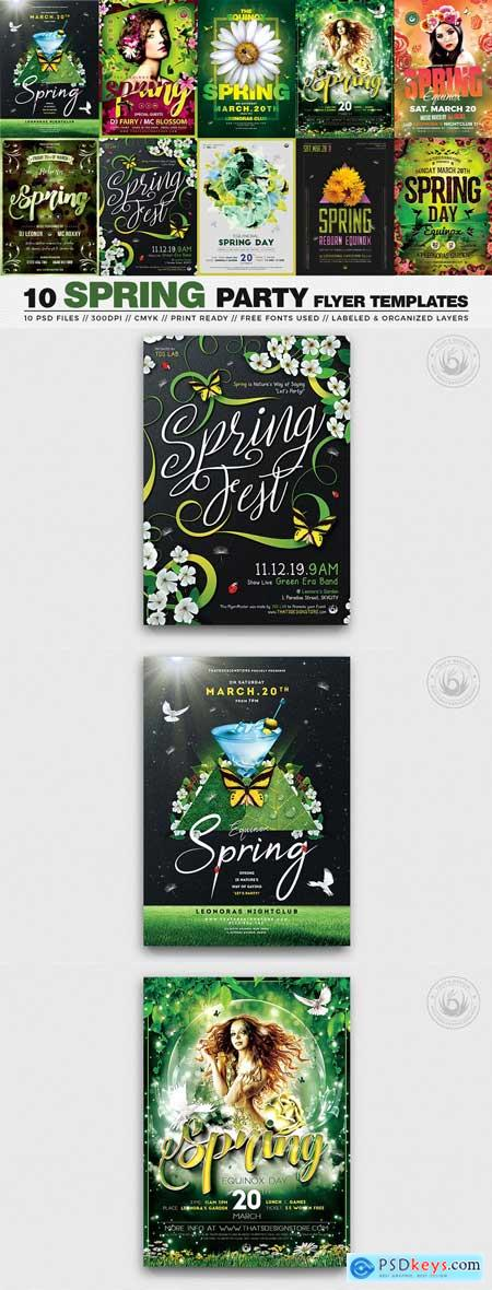 Creativemarket 10 Spring Party Flyer Bundle