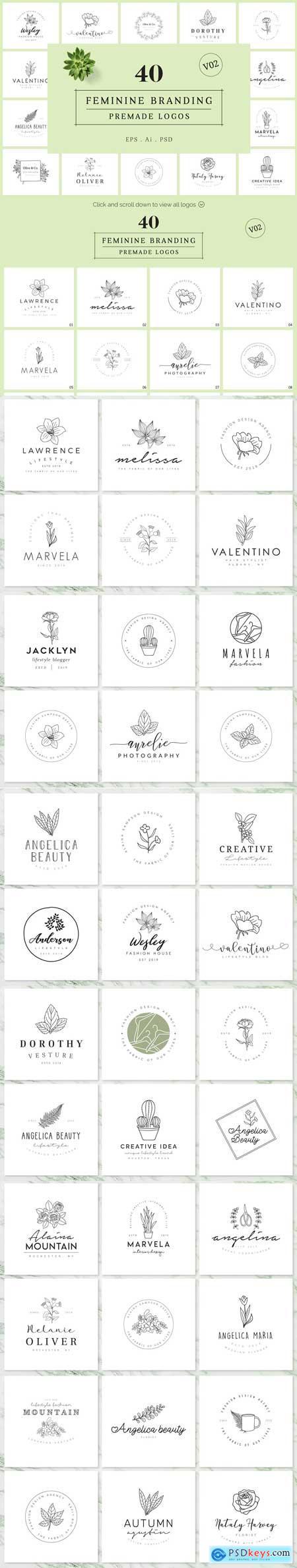 Creativemarket Feminine Branding Premade Logos V02