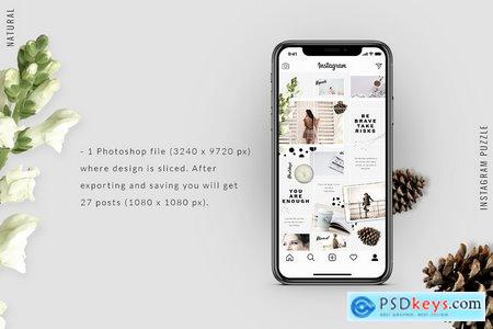 Creativemarket Instagram PUZZLE template - Natural