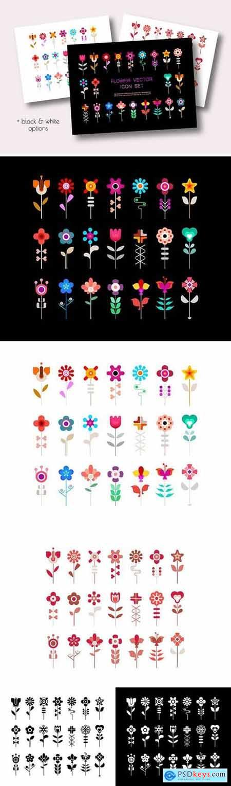 4 Option of a Flower Vector Icon Set