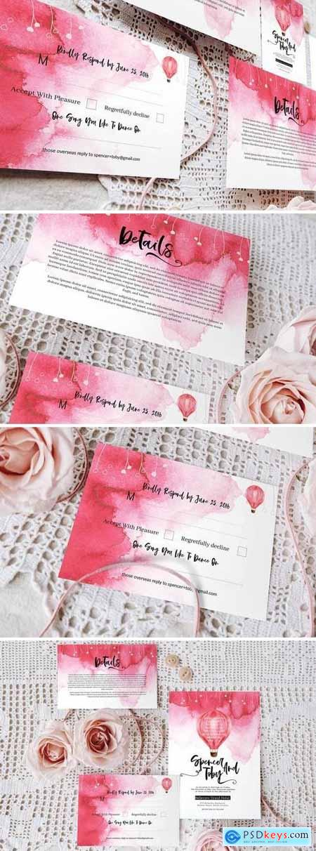 Colour me pink wedding invitation set