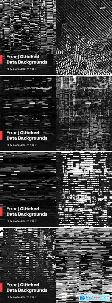 Error Glitched Data Backgrounds Vol. 01