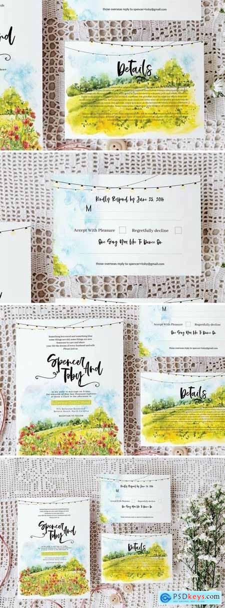 Spring wedding invitation set
