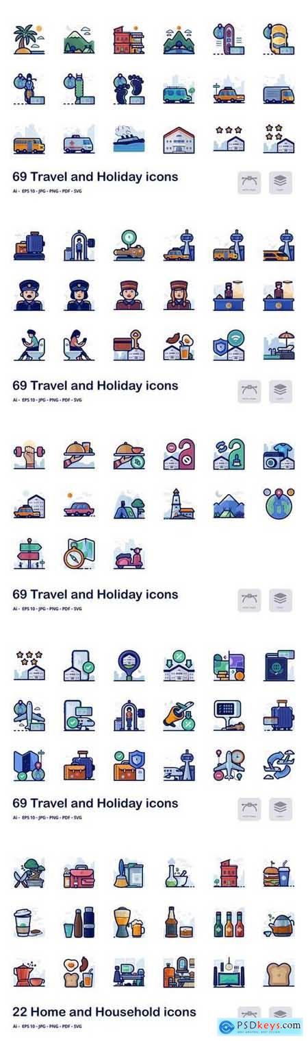 Travel and holiday filled outline icons