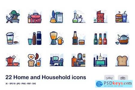 Home and household filled outline icons