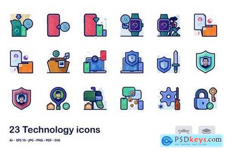 Technology detailed filled outline icons