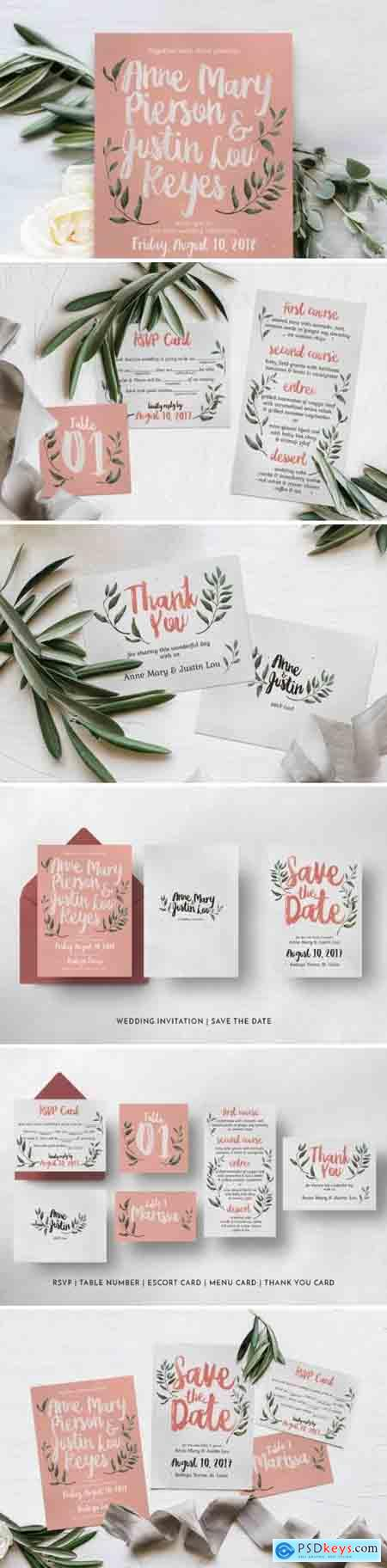 Rustic Pink & Green Wedding Invitation Suite